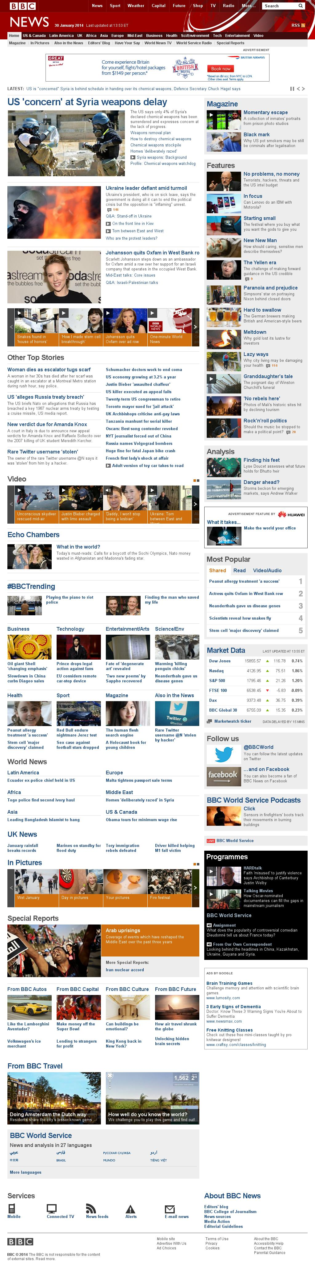 BBC at Thursday Jan. 30, 2014, 7 p.m. UTC