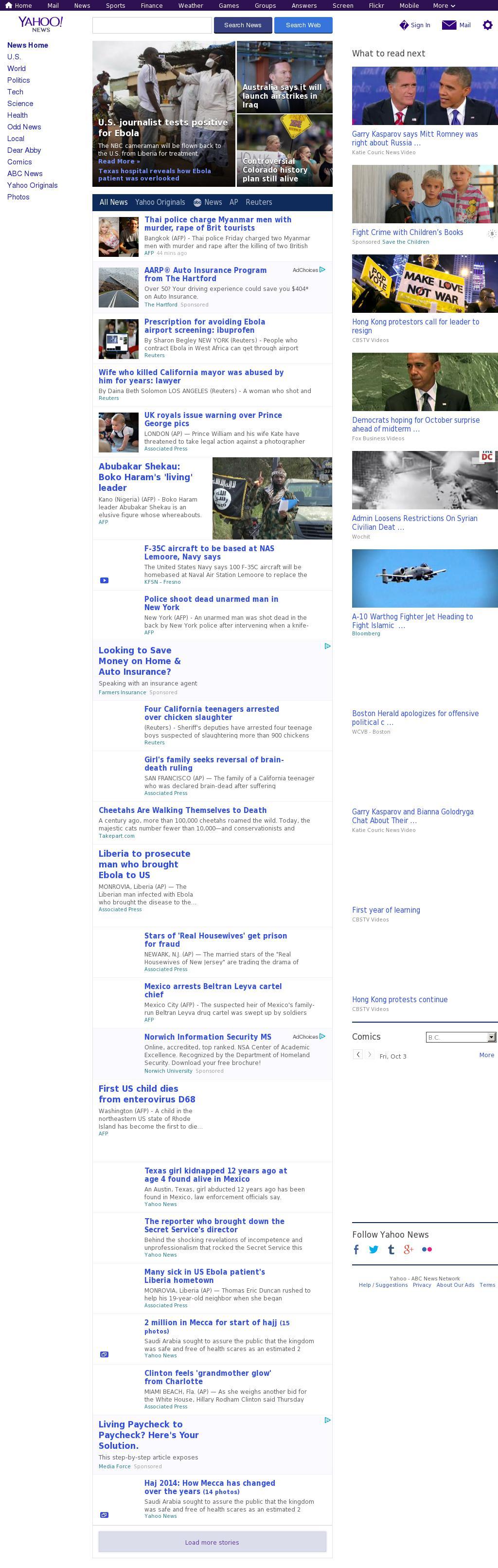 Yahoo! News at Friday Oct. 3, 2014, 8:19 a.m. UTC