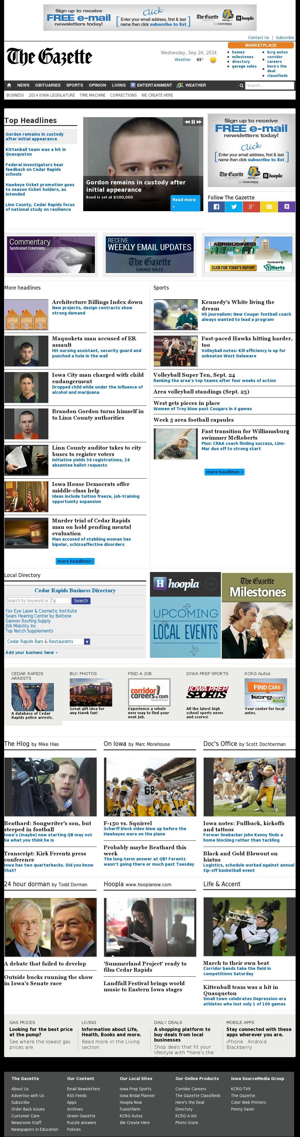 The (Cedar Rapids) Gazette at Wednesday Sept. 24, 2014, 6:04 p.m. UTC