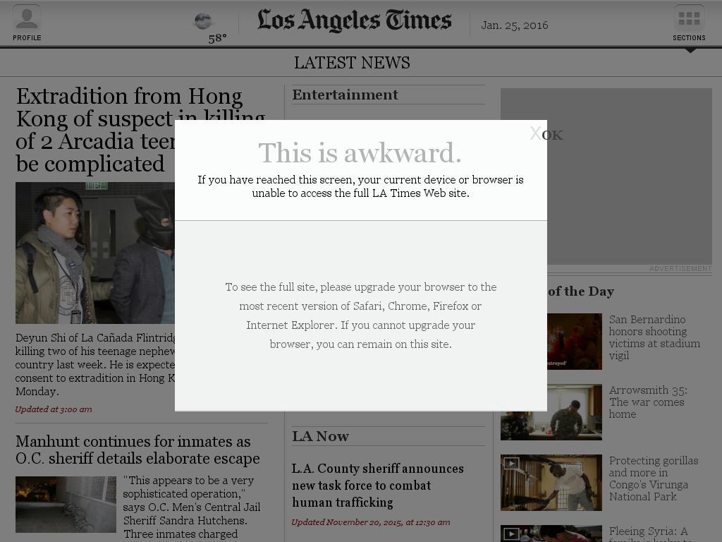 Los Angeles Times at Monday Jan. 25, 2016, 5:11 a.m. UTC